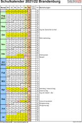 Vorlage 7: Schuljahreskalender 2021/2022 im Hochformat, 1 Seite, Tage fortlaufend (Wochengliederung)