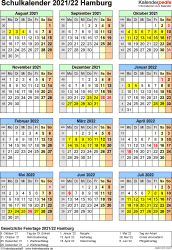 Vorlage 5: Schuljahreskalender 2021/2022 im Hochformat, Jahresübersicht