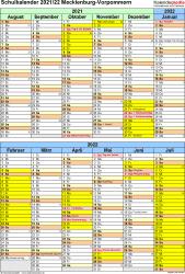 Vorlage 6: Schuljahreskalender 2021/2022 im Hochformat, 1 Seite
