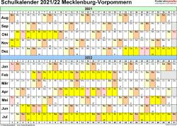 Vorlage 3: Schuljahreskalender 2021/2022 im Querformat