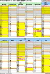 Vorlage 5: Schuljahreskalender 2021/2022 im Hochformat, 1 Seite, unterteilt in 6-Monats-Blöcke