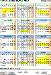 Vorlage 7: Schuljahreskalender 2021/2022 im Hochformat, Jahresübersicht