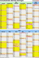 Vorlage 5: Schuljahreskalender 2021/2022 im Hochformat, 1 Seite