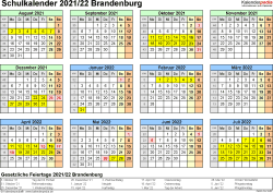 Vorlage 4: Schuljahreskalender 2021/2022 im Querformat, Jahresübersicht