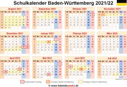 Schulkalender 2021/22 Baden-Württemberg