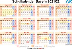 Schulkalender 2021/22 Bayern