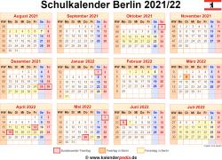 Schulkalender 2021/22 Berlin