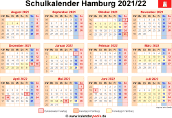 Schulkalender 2021/22 Hamburg