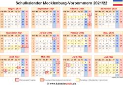 Schulkalender 2021/22 Mecklenburg-Vorpommern