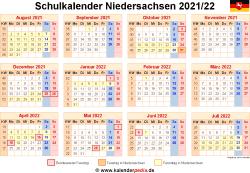 Schulkalender 2021/22 Niedersachsen