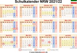 Schulkalender 2021/22 NRW
