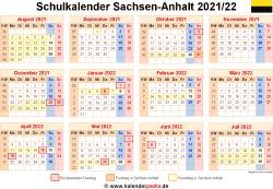 Schulkalender 2021/22 Sachsen-Anhalt