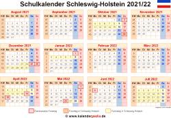 Schulkalender 2021/22 Schleswig-Holstein