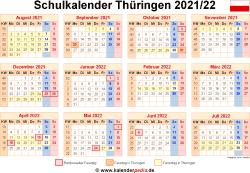 Schulkalender 2021/22 Thüringen