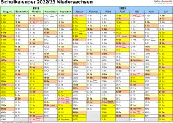Vorlage 1: Schuljahreskalender 2022/2023 im Querformat