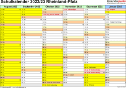 Vorlage 2: Schuljahreskalender 2022/2023 im Querformat