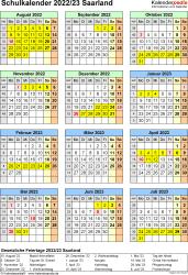 Vorlage 7: Schuljahreskalender 2022/2023 im Hochformat, Jahresübersicht