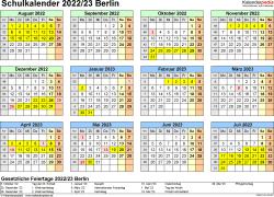 Vorlage 4: Schuljahreskalender 2022/2023 im Querformat, Jahresübersicht