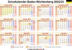 Schulkalender 2022/23 Baden-Württemberg