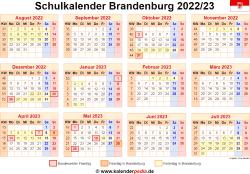 Schulkalender 2022/23 Brandenburg