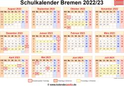 Schulkalender 2022/23 Bremen