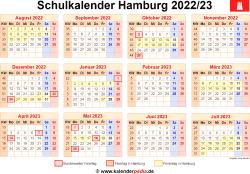 Schulkalender 2022/23 Hamburg