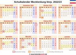 Schulkalender 2022/23 Mecklenburg-Vorpommern