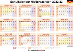 Schulkalender 2022/23 Niedersachsen