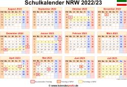 Schulkalender 2022/23 NRW