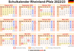 Schulkalender 2022/23 Rheinland-Pfalz