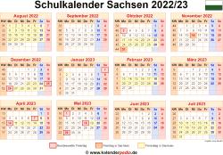 Schulkalender 2022/23 Sachsen