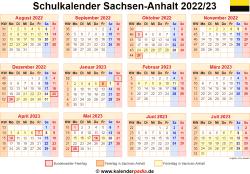 Schulkalender 2022/23 Sachsen-Anhalt