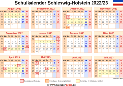 Schulkalender 2022/23 Schleswig-Holstein