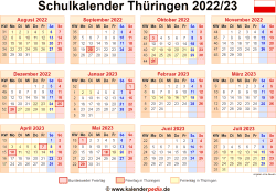 Schulkalender 2022/23 Thüringen