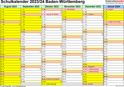 Vorlage 2: Schuljahreskalender 2023/2024 im Querformat