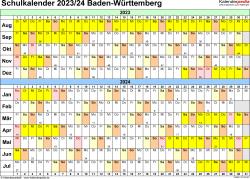 Vorlage 3: Schuljahreskalender 2023/2024 im Querformat