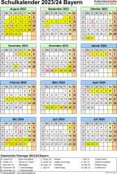Vorlage 7: Schuljahreskalender 2023/2024 im Hochformat, Jahresübersicht