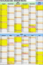 Vorlage 5: Schuljahreskalender 2023/2024 im Hochformat, 1 Seite, unterteilt in 6-Monats-Blöcke