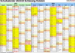 Vorlage 1: Schuljahreskalender 2023/2024 im Querformat
