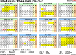 Vorlage 4: Schuljahreskalender 2023/2024 im Querformat, Jahresübersicht