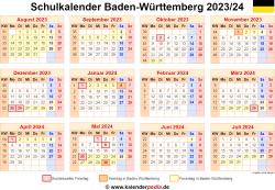 Schulkalender 2023/24 Baden-Württemberg