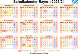 Schulkalender 2023/24 Bayern