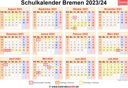 Schulkalender 2023/24 Bremen