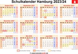 Schulkalender 2023/24 Hamburg