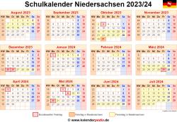 Schulkalender 2023/24 Niedersachsen