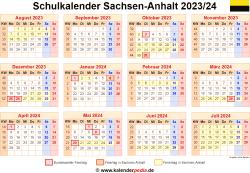 Schulkalender 2023/24 Sachsen-Anhalt