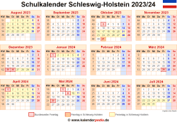 Schulkalender 2023/24 Schleswig-Holstein