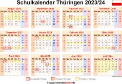 Schulkalender 2023/24 Thüringen