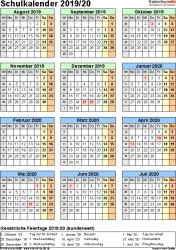 Vorlage 7: Schuljahreskalender 2019/2020 im Hochformat, Jahresübersicht