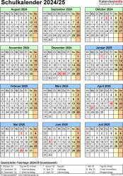 Vorlage 7: Schuljahreskalender 2024/2025 im Hochformat, Jahresübersicht
